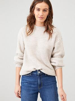 v-by-very-balloon-sleeve-wide-knit-jumper-stone