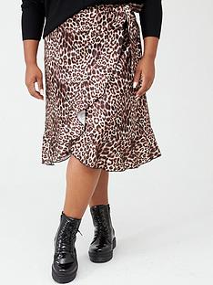boohoo-plus-boohoo-plus-woven-satin-animal-print-ruffle-midi-skirt-black