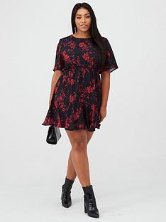 boohoo-plus-boohoo-plus-tiered-woven-smock-dress-black