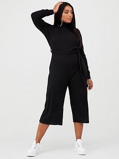 boohoo-plus-boohoo-plus-soft-rib-self-belt-tie-culotte-jumpsuit-black
