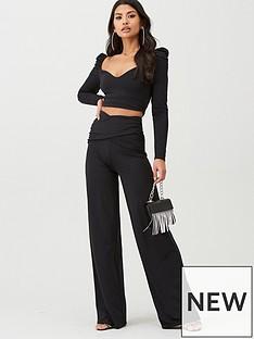 boohoo-boohoo-slinky-rouched-puff-sleeve-top-and-wide-leg-trouser-co-ord-black