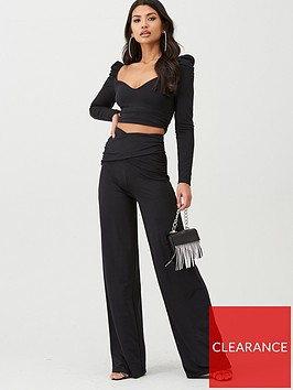 boohoo-boohoo-slinky-rouched-puff-sleeve-top-and-wide-leg-trouser-co-ord-black