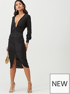 boohoo-boohoo-twist-front-plunge-slinky-midi-dress-black