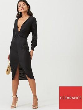 boohoo-boohoo-twist-front-plunge-slinky-midi-dress-black