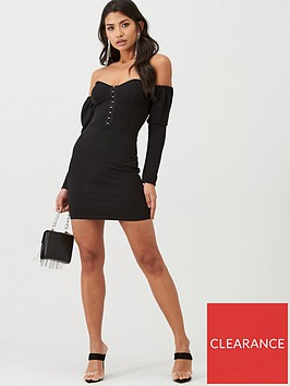 boohoo-boohoo-bardot-hook-and-eye-cupped-mini-dress-black
