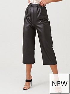 boohoo-boohoo-pu-button-detail-culottes-black