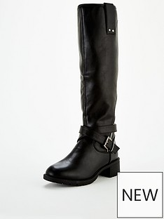 v-by-very-fur-lined-buckle-trim-riding-boot
