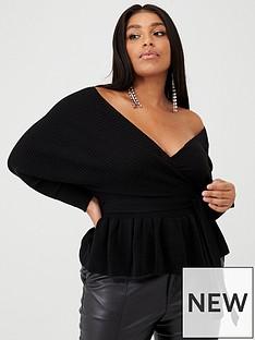 boohoo-plus-boohoo-plus-off-shoulder-tie-waist-wrap-jumper-black