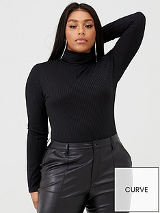 boohoo-plus-boohoo-plus-jumbo-ribbed-roll-neck-jersey-bodysuit-black