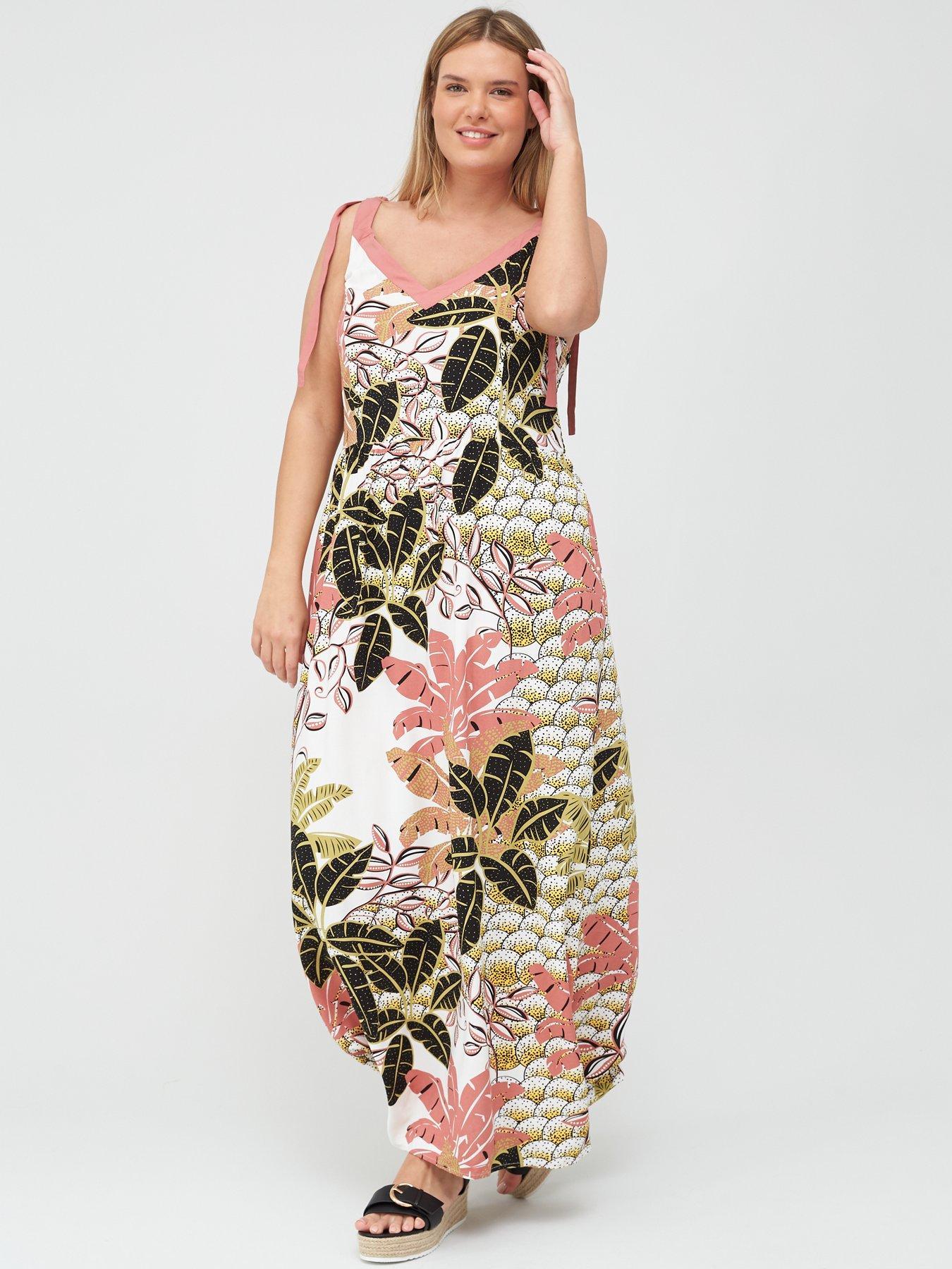 UK Plus Size Fashion Women Off Shoulder  Lace Up Maxi Flowing Floral Print Dress