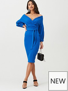 boohoo-boohoo-off-the-shoulder-wrap-midi-dress-cobalt