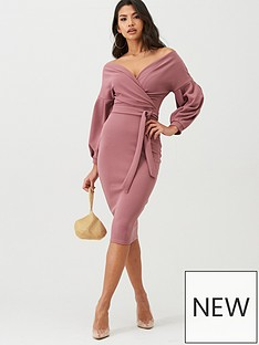 boohoo-boohoo-off-the-shoulder-wrap-midi-dress-pink