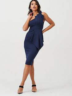 boohoo-boohoo-one-shoulder-pleated-detail-midi-dress-navy
