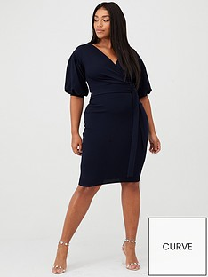 boohoo-plus-boohoo-plus-wrap-midi-dress-navy