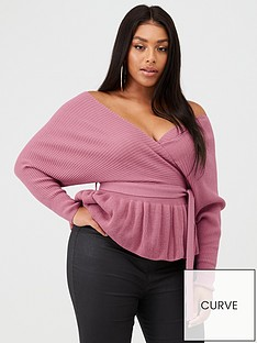 boohoo-plus-boohoo-plus-off-the-shoulder-tie-waist-wrap-jumper-rose