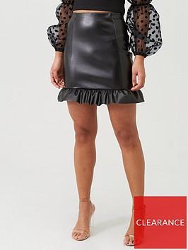 boohoo-boohoo-pu-peplum-hem-mini-skirt-black