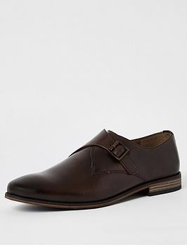 River Island Monk Strap Leather Shoes, Brown, Size 11, Men