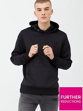 river-island-smart-western-black-rvr-slim-fit-hoodie