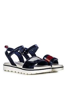 tommy-hilfiger-girls-sequin-strap-sandals-navy