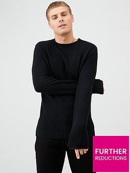 river-island-black-slim-fit-crew-neck-knitted-jumper