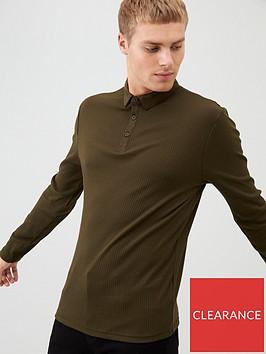 river-island-khaki-long-sleeve-muscle-fit-rib-polo-shirt