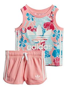 adidas-originals-infantnbspgirls-tank-short-set-pink