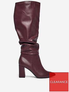 dorothy-perkins-dorothy-perkins-khloe-pull-on-ruched-boots-burgundy