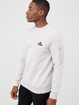river-island-mcmlx-grey-nylon-panel-slim-fit-sweatshirt