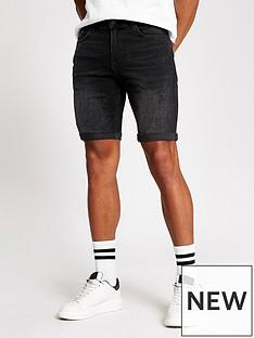 river-island-washed-black-denim-shorts