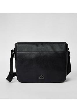 river-island-black-triangle-badge-folder-over-strap-bag