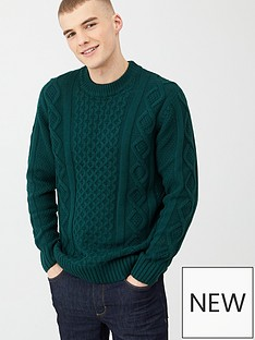 river-island-dark-green-cable-knit-crew-neck-jumper