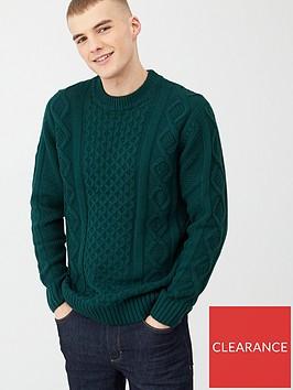 river-island-dark-green-cable-knit-crew-neck-jumper