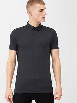 river-island-dark-grey-essential-muscle-fit-polo-shirt