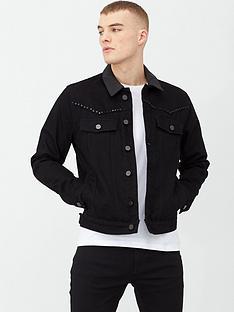 river-island-black-smart-western-studded-denim-jacket