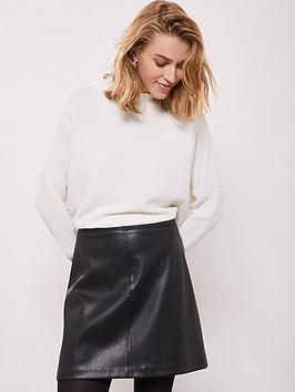 mint-velvet-pu-mini-a-line-skirt-black