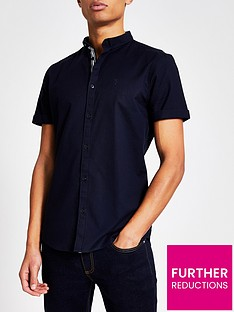 river-island-maison-riviera-navy-slim-fit-oxford-shirt