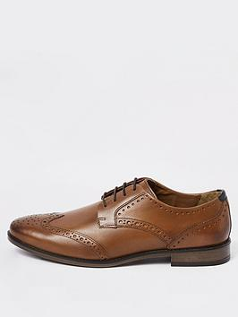 river-island-mid-brown-wide-fit-leather-lace-up-brogues