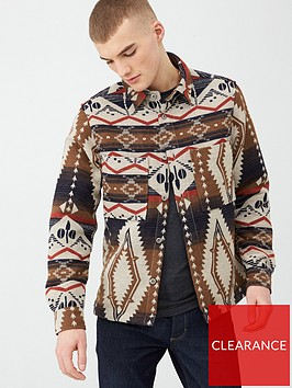 river-island-ecru-printed-button-through-overshirt
