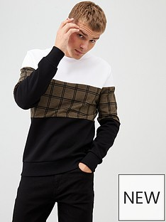 river-island-black-check-colour-blocked-sweatshirt