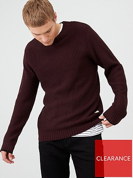 river-island-dark-red-slim-fit-waffle-knit-jumper