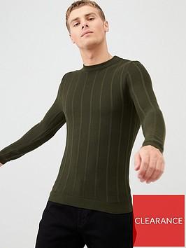 river-island-khaki-muscle-fit-rib-knitted-jumper