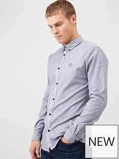 river-island-grey-muscle-fit-long-sleeve-oxford-shirt