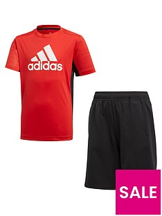 adidas-junior-boysnbsptee-and-short-set-red-black