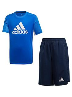 adidas-junior-boysnbsptee-and-short-set-blue