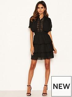 ax-paris-petite-chiffon-lace-skater-dress-black