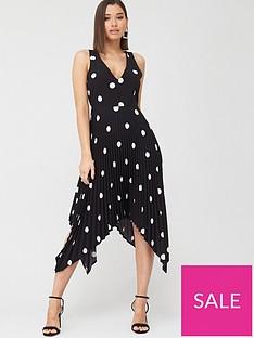 ax-paris-polka-dot-pleated-midi-dress-black