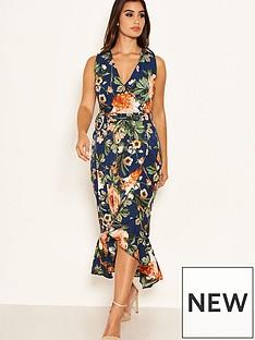 ax-paris-floral-printed-wrap-dress-navy