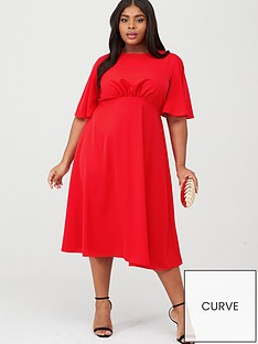 ax-paris-curve-midi-plain-dress-red