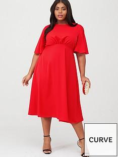 ax-paris-curve-midi-plain-dress-red