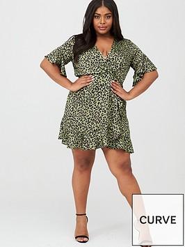 ax-paris-curve-nbspanimal-frill-dress-green